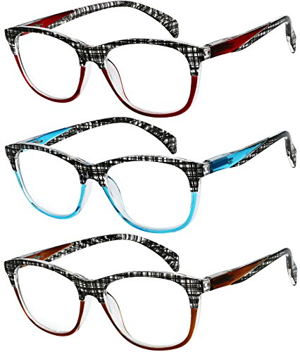 Reading Glasses 3 Pair Great Value Quality Readers for Thin Temple Lightweight Comfort for Men and Women Glasses for Reading +2.5