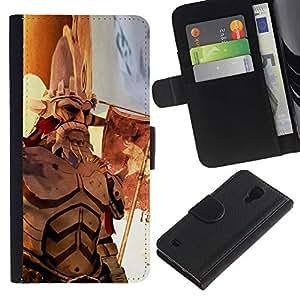 Protector de cuero de la PU de la cubierta del estilo de la carpeta del tirón BY RAYDREAMMM - Samsung Galaxy S4 IV I9500 - Guerra héroe de edad