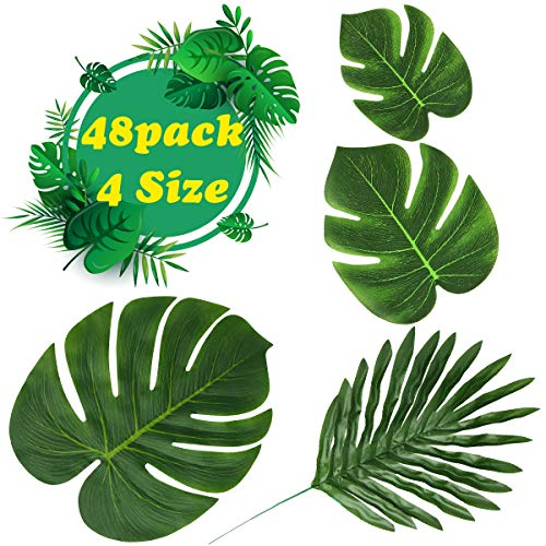 Aitey Artificial Palm Leaves, 4 Kinds Tropical Green Leaf Hawaiian Luau Party Suppliers Aloha Jungle Decorations, DIY Fake Plants for Indoor/Outdoor Beach Wedding Birthday Party Decor- 48PCS