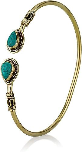 Gold Turquoise Jewelry Turquoise Flower Bracelet Synthetic Turquoise Bracelet Turquoise Adjustable Bracelet Dainty Turquoise Bangle