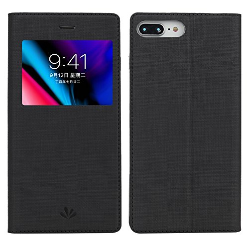 (iPhone 7 Plus Case, iPhone 8 Plus Case, Premium Leather PU Flip Folio Wallet Case with View Window Stand Kicstand Card Holder Magnetic Closure TPU Bumper Full Cover Slim Leather Case Feitenn - Black)