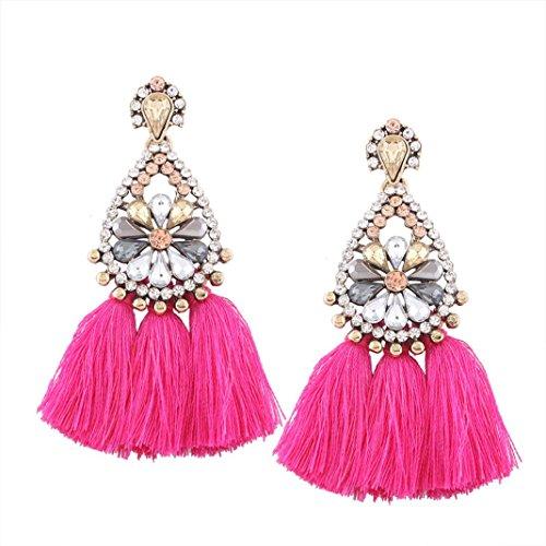 DDLBiz Women Fashion Bohemian Earrings Long Tassel Fringe Dangle Earrings Jewelry (Style2 Hot Pink)