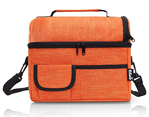 PuTwo Lunch Bag 8L Insulated Lunch Bag Lunch Box Lunch Bags for Women Lunch Bag for Men Cooler Bag with YKK Zip and Adjustable Shoulder Strap Lunch Tote for Kids Lunch Box Lunch Pail - New Orange (Orange Lunch)