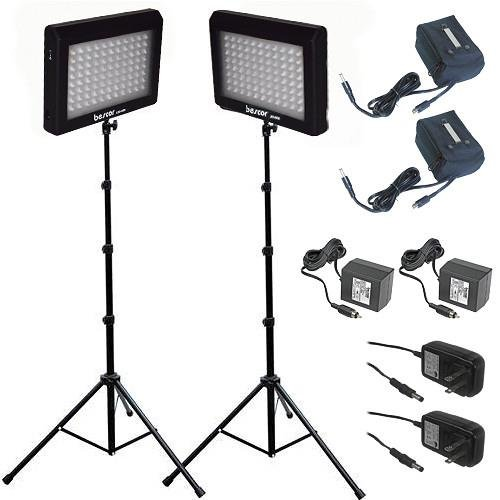 Bescor 190W Combined Dual LED Studio Lighting & Battery Kit, Includes 2x LED-95DK2 LED Light, 2x Light Stand, 2x External Battery with Charger Bescor Led