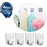 3M Hooks Adhesive Hooks Heavy Duty Hooks Waterproof Stainless Steel Bath Organizer Super Powerful Wall Hanger for Robe Towe Coat Keys Bathroom Kithchen 4-Pack