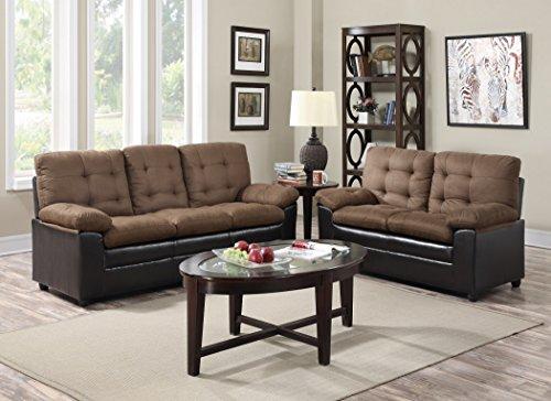 GTU Furniture 2-Tone Microfiber Sofa & Loveseat Set, 5 Colors Available (Mocha)