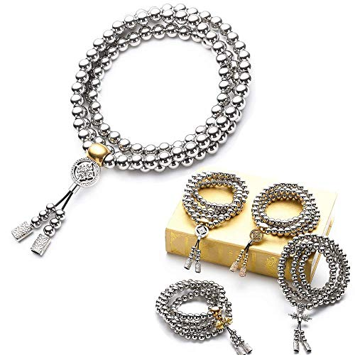 RedKing 108 Stainless Steel Beads Necklace Mala Beads Prayer Beads Buddha Beads Necklace Men's Stainless Steel Bracelet Chain Car Decoration Pendant Gifts for Men - Pendant Buddha Bead