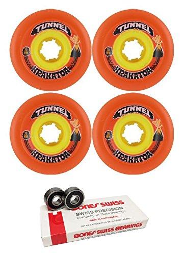 散る抜本的なモッキンバード70 mmトンネルSkateboards KrakatoaスライドLongboard Skateboard Wheels with Bones Bearings – 8 mm Bones Swiss Skateboard Bearings – 2アイテムのバンドル