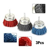 3Pcs 3'' Abrasive Wire Nylon Cup Brushes Rotary Tool for Cleaning,Polishing,Deburring and Removing Welding 6MM Shank 80/120/240#