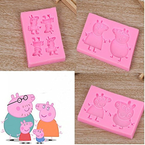 Astra Gourmet PEPPA and Brother GEORGE Pig & Mom Dad Pig Silicone Fondant Chocolate Candy Mold BIRTHDAY PARTY FAVORS, Set of 3