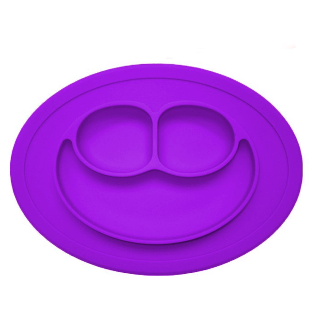 Baby Silicone Suction Plate Cartoon Smile Shape Kids Divided Plates for Toddlers, Fits Most High Chairs BPA Free (Purple)