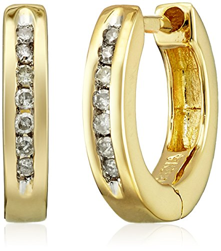 Channel Set Diamond Huggie Earrings Clarity