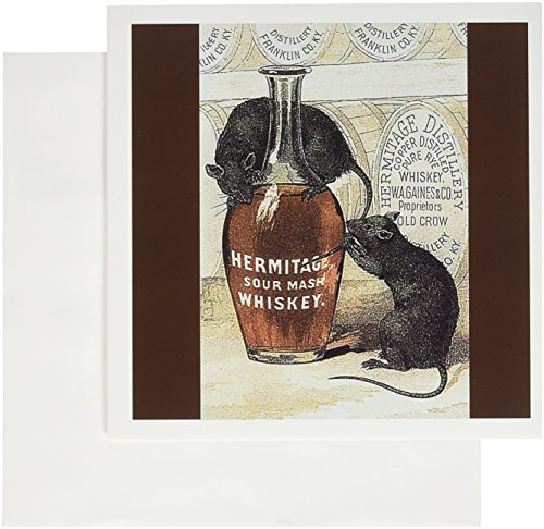 3dRose Hermitage Sour Mash Whiskey Bottle Barrels and Two Gray Rats 6 x 6 Inches Greeting Cards, Set of 12 (gc_180201_2) (Best Sour Mash Whiskey)