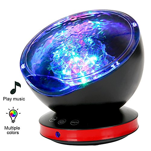Ocean Wave Projector, MYFREE 12 LED Night Light Projector, Music Player, Timer, Room Decor for Baby Kids and Adults, Nursery Living Room and Bedroom by myfree