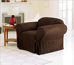 Green Living Group Chezmoi Collection Soft Micro Suede Solid Chocolate Armchair/Arm-Chair Cover Slipcover with Stretch Fit, Elastic Band Under Seat Cushion, Brown