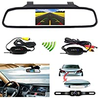 Podofo 4.3 Car TFT LCD Mirror Monitor Wireless Reverse Car Rear View Backup Camera Kit (Black)