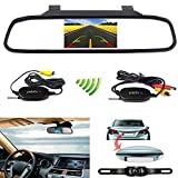 Podofo 4.3'' Car TFT LCD Mirror Monitor Wireless Reverse Car Rear View Backup Camera Kit (Black)