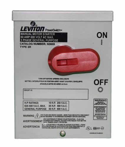 Leviton N3603 60 Amp, 600 Volt, Toggle In Type 3R Enclosure, Three-Pole, AC Motor Starting Switch, Suitable as Motor Disconnect, Industrial Grade, - Motor Starting Switch