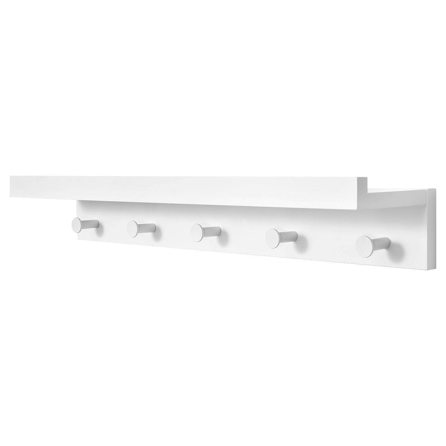 Ollieroo Bamboo Wall Mounted Shelf, Coat Hooks Rack with 5 Alloy Hooks for Entryway, Bedroom, Kitchen, Bathroom, Length 24'' (White) by Ollieroo