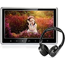 Car DVD Player with Wireless Headphones, 10.1 inch HD Headrest DVD Player Vehicle Rear Seat Entertainment System for Kids with HDMI SD USB Remote (CLZ102D-H)
