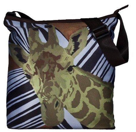 Zebra Print Bucket Bag (Animal Print Cross Body Handbag, Large - From My Original Painting, African Splash)