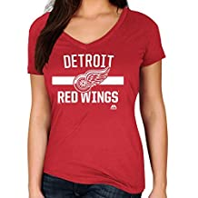 """Detroit Red Wings Women's Majestic NHL """"One Game"""" V-neck T-Shirt"""