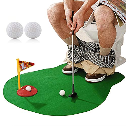 (HuoBi Toilet Golf ,Potty Golf Drinker Toilet Toy Potty Putter Putting Golfing Game Indoor Practice Mini Golf Gift Set Golf Training Accessory for Men)