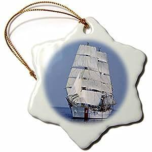 3drose Sail Boat Snowflake Porcelain Ornament, 3-Inch