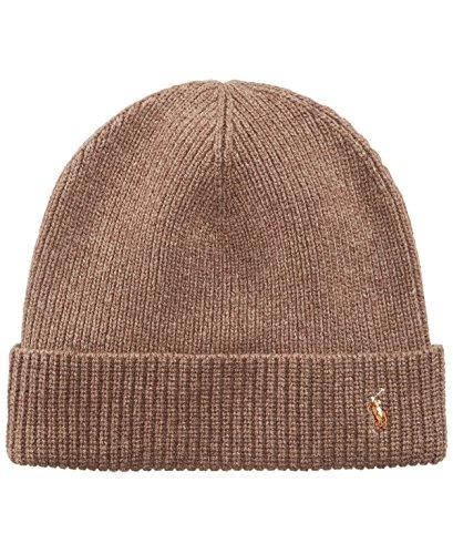 Polo Ralph Lauren Men's Merino Wool Watch Cap, Honey Brown Heather, One Size