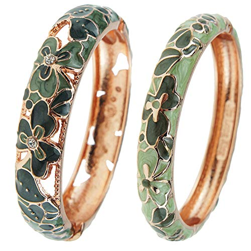 UJOY Fashion Cloisonne Bracelets Colorful Enameled Leaf Spring Hinged Gold Plated Bangles Womens Jewelry Gifts 88A22 Green
