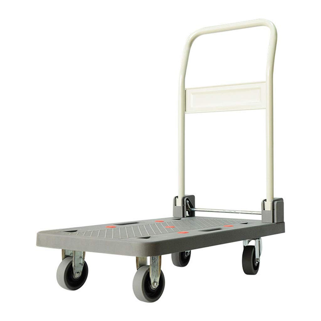 Xuejuanshop Shopping Carts Creative Universal Wheel Trolley Portable Folding Four Wheel Cart Silent Load Flatbed ( Size : L ) by Xuejuanshop