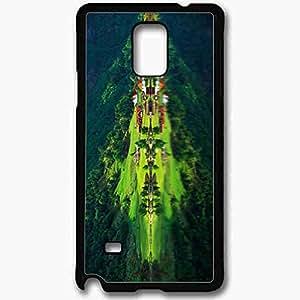 Unique Design Fashion Protective Back Cover For Samsung Galaxy Note 4 Case Mountain Village Reflection Nature Black