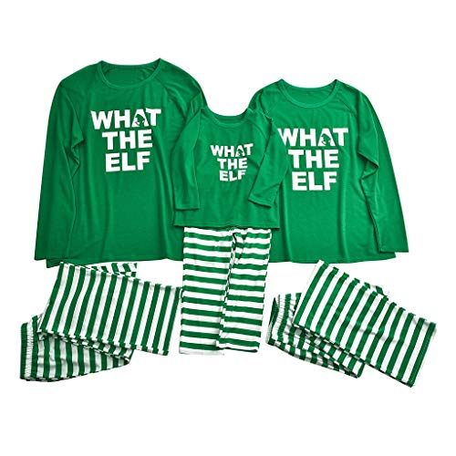 Matching Family Christmas Pajamas Set Pj Cotton Letter Printed Top+Stripe Pants Homewear Set Sleepwear Set for Dad Mom Kids Baby