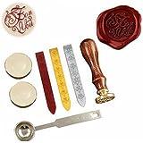 Sello de cera de sellado de cera, antiguo Kit, vintage clásica sello Seal Sellado de cera Set con oro rojo plata de incienso (para usted)