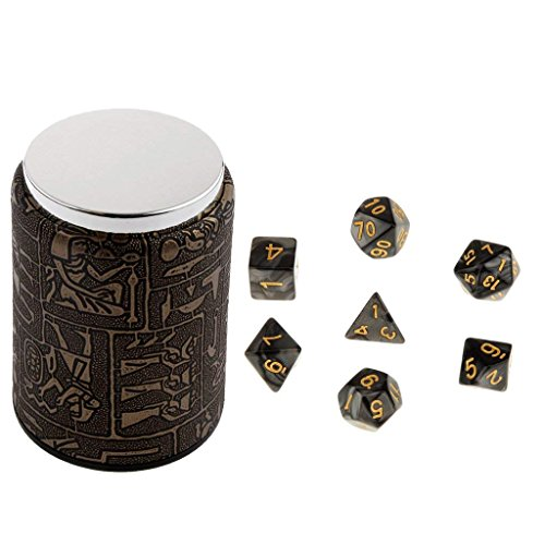 7PCS Black Multi Sided D4-D20 Dice for Dungeons & Dragons RPGs with Brown Bicast Leather Dice Cup