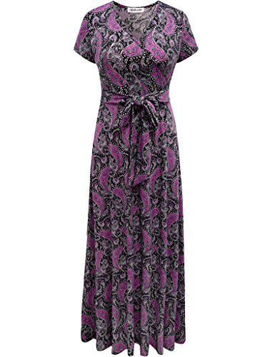 Lined Vintage Wrap (Aphratti Women's Bohemian Short Sleeve V Neck Faux Wrap Vintage Maxi Dress Multi Navy XX-Large)
