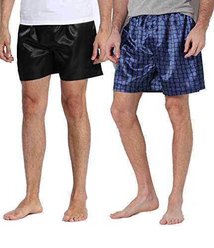 CYZ 2-PK Men's Satin Boxers-Black-M