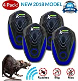 Kantora Ultrasonic Pest Repellent - 2018 Best Model Pest Repeller Plug to Control Rats, Insects, Mice, Spiders, Fleas, Roaches, Bed Bugs, Mosquitoes - Baby, Pet Safe & Non Toxic (Blue 4 Pack)