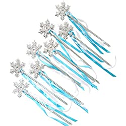 Butterfly Craze Frozen Birthday Party Favor Snow Flake Wand Set (8 Pieces Set)