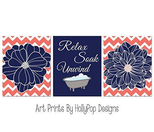 Navy coral bathroom art - Dahlia flower prints - Relax Soak Unwind - Spa decor - Floral bathroom art -Bathroom art prints - SET OF 3 UNFRAMED ART PRINTS #1675 (Navy Coral Picture)