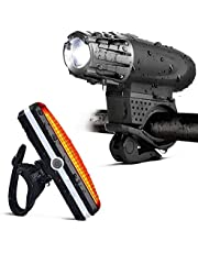 Lumive Rechargeable Bike light Set Super Bright Front and Back LED Rear Bicycle Light for Cycling