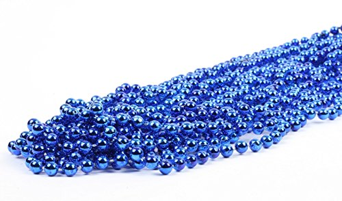 Andaz Press Mardi Gras Plastic Bead Necklaces for Birthday Favors and Table Centerpiece Decorations, Metallic Royal Blue, 24-Pack
