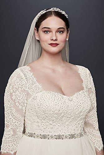 Oleg Cassini Plus Size Organza 3/4 Wedding Dress Style 8CWG731