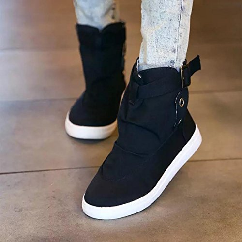 FALAIDUO Up Top Ankle Buckle Women's Fashion Canvas High Boots Black Shoes Boots Casual Martin Lace Teen Student Shoes xxE1qwAr