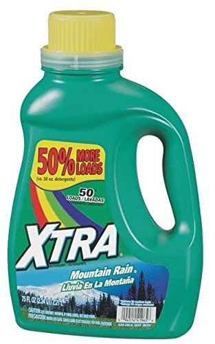 Xtra Liquid Laundry 2X Concentrate Detergent, Mountain Rain, 75 Ounce (Pack of 6)