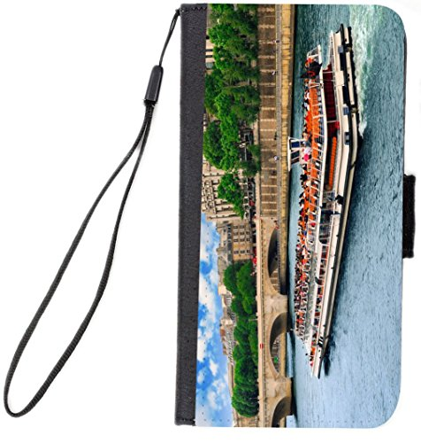 Scenic Boat Tour on Seine Paris France Design Premium Flip Case with Card Slots and Flipstand for Galaxy Note 4 case UKBK by Rikki Knight