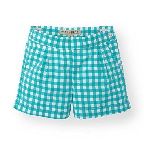 Hope & Henry Girls' Green Gingham Pleat Short (Green Gingham Shorts)