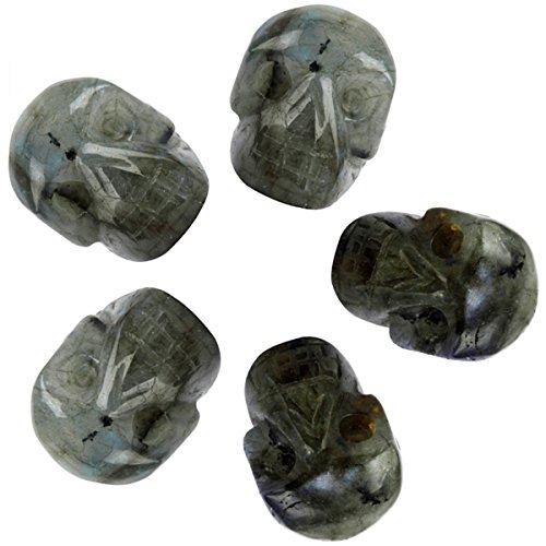 mookaitedecor 1 Inch Labradorite Crystal Skull Sculpture Set of 5, Hand Carved Gemstone Statue Figurine Collectible Healing Reiki ()