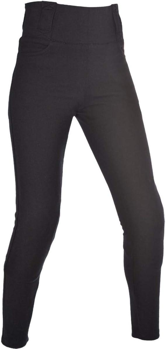 Black Long Oxford Ladies Motorcycle Kevlar Lined Super Leggings Trousers 14