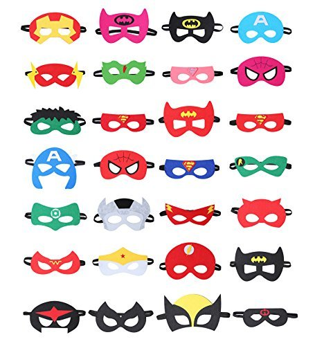 28 Pieces High Quality Superhero Masks for Children – Perfect Costume Accessories for Cosplay, Halloween, Birthdays, Children Parties – Movie Comic Mask for Kids Aged (Real Thor Costume)